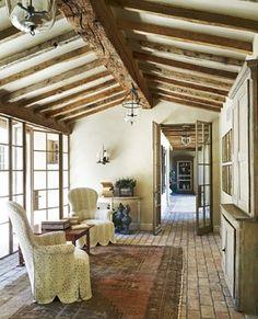 lights beams doors Rural French Estate - mediterranean - family room - phoenix - David Michael Miller Associates