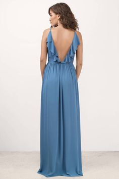 Zeze Blue Front Slit Ruffled Back Maxi Dress
