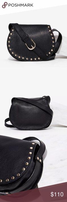B-Low the belt leather crossbody saddle bag Black pebbled leather bag with magnetic closure, 2 slip pockets, gold studs, adjustable shoulder strap. No trades. B-Low the Belt Bags Crossbody Bags