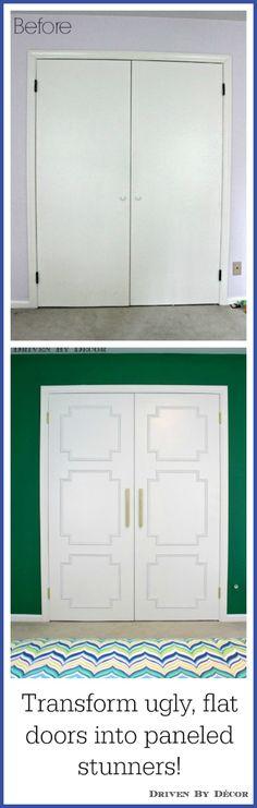 Transform flat paneled doors with panel molding diy Tutorial via Driven By Decor