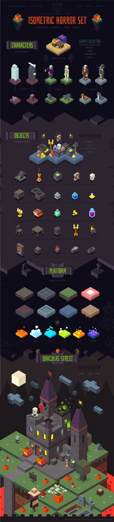 Halloween Horror isometric set, 2015 on Behance
