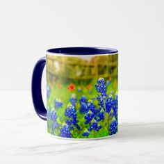 San antonio texas and bexar county souvenir mug texas bluebonnets country fence modern landscape mug negle Gallery