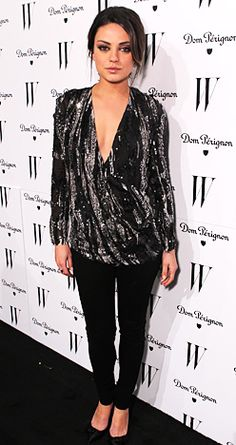 January 14, 2011 The Friends With Benefits star shimmered in a sequined top at W Magazine's pre-Golden Globes party in L.A.