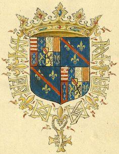 Charles de Lorraine [Charles de Lorame, Duc d'Aumalle, Pair et grand veneur de France] (f°5r) -- «Recueil de blasons coloriés des chevaliers de l'Ordre du Saint-Esprit (1579-1581)», par J. Bette, sieur d'Angreau [BNF Ms Fr 25202 - ark:/12148/btv1b53038272f]