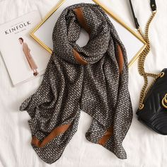 Letter GG Casual Silk Scarf for Women Long Scarves Women Pashmina Shawl, Stunning Women, Cotton Scarf, Long Scarf, Women Brands, Shawls And Wraps, Scarf Styles, Womens Scarves, Casual