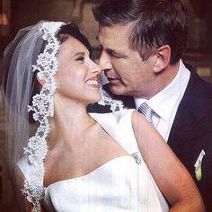 Brides: Celebrity Wedding Photos - Hilaria Thomas marries Alec Baldwin in Amsale, 2012.