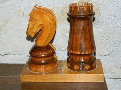 Porte lettres et crayons, vintage , Jeux d échecs en bois