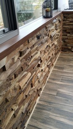 Discover thousands of images about sun room inside wall Wooden Wall Cladding, Wooden Wall Panels, Wooden Walls, Home Room Design, Interior Design Living Room, Wooden Wall Design, Wood Mosaic, Into The Woods, Wood Home Decor