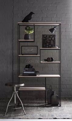 Steel Furniture, Industrial Furniture, Diy Furniture, Modern Furniture, Furniture Design, Bookcase Shelves, Metal Shelves, Shelving, Muebles Living