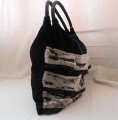 vintage style  velvet bag  cotton bag   black and di Ilfilodoro, €18.73