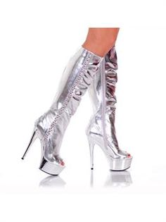 Brand new Women'S Knee High Platform Boot With Side Rocker Metal. Sensational ideas of Disco Shoes & Boots for Halloween at PartyBell. Knee High Platform Boots, High Heel Boots, Platform Shoes, Sexy High Heels, Womens High Heels, Disco Shoes, Open Toe Boots, How To Stretch Boots, Wellington Boot