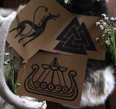 Handmade Cards With Urnes Dragon Viking Ship And Valknut Viking Ship, Viking Age, Runic Writing, Celtic Animals, Ancient Names, Altar Cloth, Asatru, Deathly Hallows Tattoo, Vikings