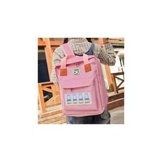 Embroidered Backpack ($28) ❤ liked on Polyvore featuring bags, backpacks, accessories, canvas rucksack, embroidery bags, canvas daypack, pink canvas backpack and pink backpack
