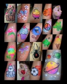 lots of great kiddy-style ideas - Cheek Art- Smiley Faces by Jo :) . Face Painting Halloween Kids, Painting For Kids, Halloween Face, Easy Face Painting Designs, Face Painting Tutorials, Balloon Painting, Tole Painting, Cheek Art, Hand Art