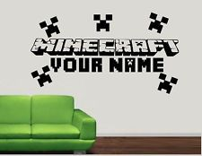 Minecraft Wall Decals | ... listed MINECRAFT PERSONALISED Boys Bedroom Wall Art Decal/Sticker