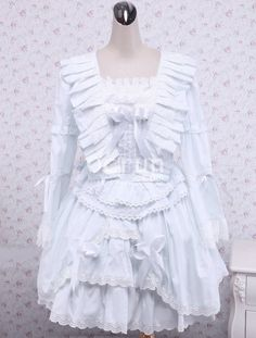 Weiße Rüschen Baumwolle Schnüren Gothic Lolita Kleid