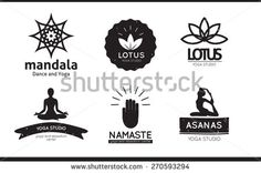 Set of logos, labels and badges for yoga studio in vector. Yoga vector logotype template.  - stock vector