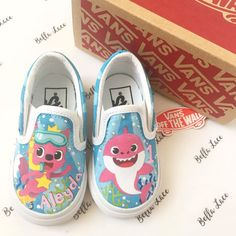 More baby shark vans 🦈 . Now this song is going to be stuck in your head in 🎵 baby shark doo doo doo. Custom Painted Shoes, Painted Vans, Hand Painted Shoes, Custom Vans, Custom Sneakers, Custom Shoes, Toddler Girl Shoes, Baby Girl Shoes, Girls Shoes