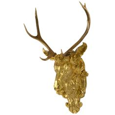 19th Century Red Deer Antlers Mounted on Gilt Stag Head | From a unique collection of antique and modern wall-mounted sculptures at https://www.1stdibs.com/furniture/wall-decorations/wall-mounted-sculptures/