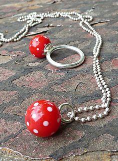 Red | Polka Dots |Lampwork Beads | Hand Blown Glass Jewelry | By Melanie Moertel | Available On Etsy https://www.etsy.com/shop/melaniemoertel