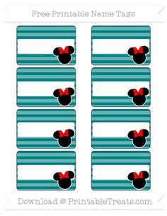 Free Teal Horizontal Striped  Minnie Mouse Name Tags