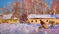"""Fedor Zakharov - Winter in Sednev 9.25"""" x 15.5""""oil on board 1965"""
