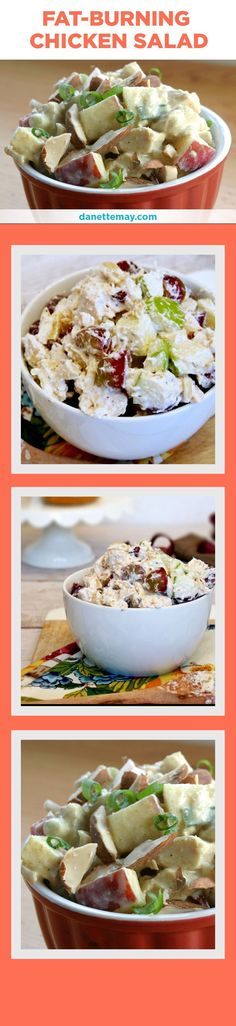This clean and healthy Chicken Salad recipe is one of my most popular recipes and one bite will tell you why. It's easy to make and a super healthy recipe for lunch! See the full recipe here: http://danettemay.com/fat-burning-chicken-salad/ #FatBurningFoods