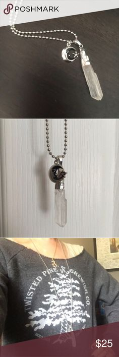 """Wild Gypsy Clear Quartz Raw Crystal Necklace Beautiful handmade piece for your unique free spirit. Genuine raw clear Crystal Quartz stone, silvertone plated hardware. """"The clear Crystal Quartz will amplify communication and clarity. Will assist you by stimulating clearer thinking. Long 28"""" ball chain or custom length available upon request. Moon + Star charm also silver tone and alloy free. Boho, Gypsy, 70s, fun, chic and HEALING. Alloy free. """"Now here I go again, I see the Crystal visions…"""