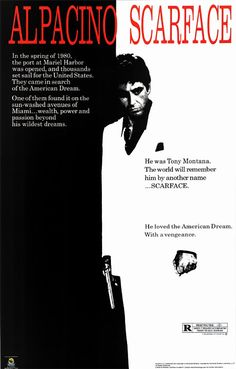 A great movie poster from Scarface - the classic film by Brian De Palma starring Al Pacino as Cuban gangster Tony Montana! Check out the rest of our awesome selection of Scarface posters! Need Poster Mounts. Famous Movie Posters, Classic Movie Posters, Famous Movies, Classic Films, Good Movies, Awesome Movies, 80s Movies, Cinema Posters, Vintage Movie Posters