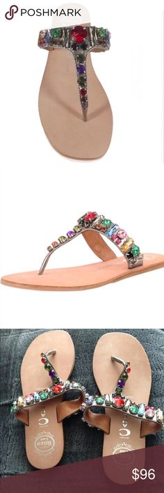 """Nasty Gal Jeffrey Campbell Naples multi sandals Nasty Gal Jeffrey Campbell Naples multi sandals-brand new/ no box. Tags are on the shoe! Heel height is less than 0.5 inches- width is 3.5"""". Minor dirt/ scratches. These are hard to find/ but would pair nicely with just about anything you have! Nasty Gal Shoes Sandals"""