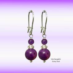 Alexandrite Purple 8mm Round, Swarovski,  925 Silver Dangle Earrings, Pendants Charm -Choose Style- Handmade - Natural Stones -FREE SHIPPING de ArtGemStones en Etsy