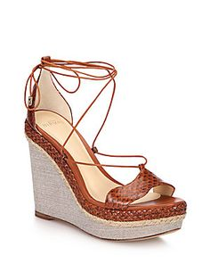 Get the must-have wedges of this season! These Alexandre Birman Brown Beige Braided Python Lace Up Wedges Size EU (Approx. US Regular (M, B) are a top 10 member favorite on Tradesy. Lace Up Wedge Sandals, Platform Espadrille Sandals, Braided Sandals, Lace Up Wedges, Ankle Wrap Sandals, Ankle Strap Wedges, Wedge Shoes, Shoes Sandals, Espadrille Wedge