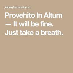Provehito In Altum — It will be fine. Just take a breath.