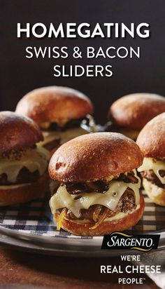The perfect party begins with a star appetizer. These Swiss Cheese and bacon sliders are a guaranteed touchdown for any football viewing party or hosting occasion. Easy to hold, easier to eat and piled high with beef, cheese, onions and bacon. Get the complete recipe at Sargento.com.