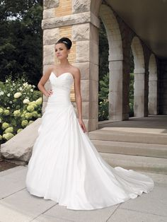 Mon Cheri Bridal gowns - So pretty! Mon Cheri Wedding Dresses, Mon Cheri Bridal, Wedding Dress Train, Sweetheart Wedding Dress, Formal Dresses For Weddings, Wedding Dress Styles, Dream Wedding Dresses, Wedding Attire, Bridal Dresses