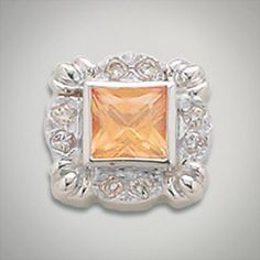 6x6 mm Square Topaz Champagne accented with CZ's set in Sterling Silver Slide. All Sterling Silver is Rhodium plated. Metal:Sterling Silver Designer:Goldman-Kolber $ 150.00 Item #: U79JLV Call 870-863-8818 for personal consultation.