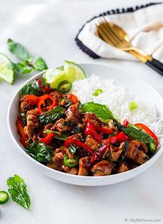 Thai Basil Chicken Savory Thai Chicken Stir-Fry with fragrant Thai Basil and delicious homemade stir-fry sauce. Also sharing substitutes to make Thai Basil Chicken without a grocery store tip, using easy-to-find pantry ingredients. Chicken Basil Recipes, Thai Basil Recipes, Thai Basil Chicken, Spicy Recipes, Asian Recipes, Ethnic Recipes, Chicken Broccoli, Asian Foods, Chicken Stir Fry Sauce