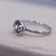 New Bezel Setting Natural Morganite Ring Engagement Ring  Solid 14k White Gold