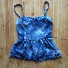 Nanette Lepore blue denim tie dye top L'Amour by Nanette Lepore. Spaghetti strap. Sweetheart neckline. Peplum style. Straps are removable. Nanette Lepore Tops