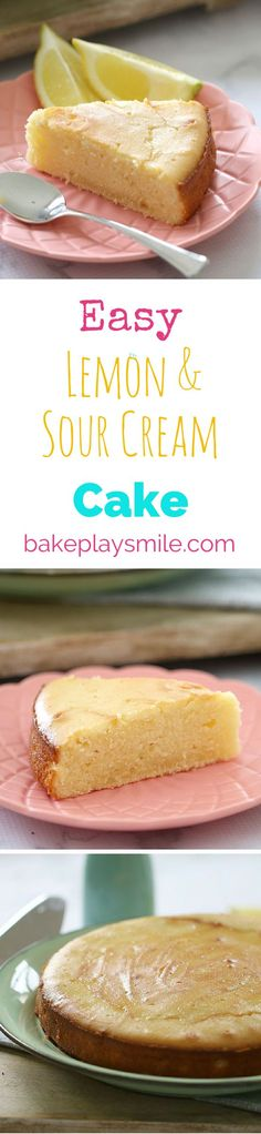 The very BEST Lemon & Sour Cream Cake! We like to drizzle a lemon glaze over the top to make it even more moist. Yum! | Bake Play Smile #lemon #cake #sour #cream #recipe #easy