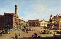 16th century painting of the Palazzo Vecchio and the Loggia dei Lanzi at the Piazza della Signoria by Giuseppe Zocchi, Firenze.