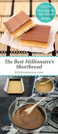 Millionaire's Shortbread | The Best | Caramel | Chocolate | Bars | Traybake Shortbread Bars, Shortbread Recipe Best, Caramel Shortbread, Chocolate Shortbread Recipe, Shortbread Biscuits, Baking Biscuits, Easter Biscuits, Biscuit Cookies, Millionaire Shortbread Recipe