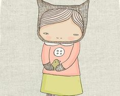 Children Art Print Elka Bear Girl and the Birds  by honeycup, $16.00
