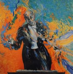 Maggi Hambling 'Sir Georg Solti Conducting Liszt's A Faust Symphony' Oil on canvas. x cm Maggi Hambling, Figurative Art, Oil On Canvas, Artist, Musicians, Portraits, Paintings, People, Life