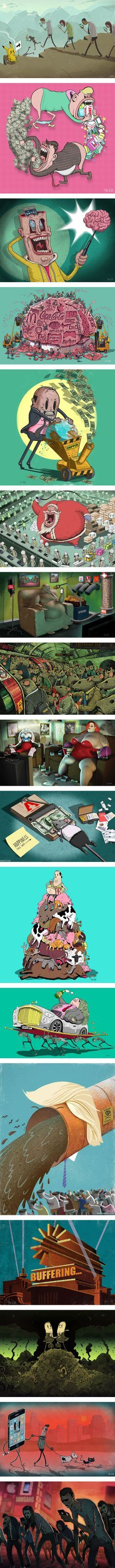 These 17 satirical images illustrate the pitfalls of pop consumer culture…