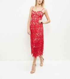 Mela Red Lace Midi Dress