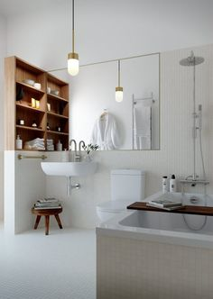Bathroom, simple, white, wood, brass | Source Oscar Properties via http://lamaisondannag.blogspot.nl/2013/05/le-cinema.html
