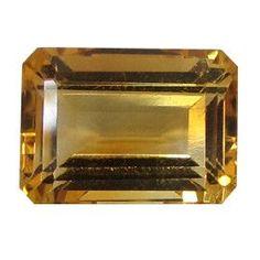8.17 ct Emerald Cut Citrine Orangish Yellow -Gold Crane & Co.