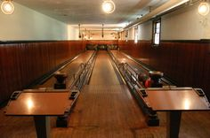 Bowling Alley at Georgian Court, home of the George Jay Goulds. The three-lane bowling alley, which dates to 1899, was a party spot for railroad tycoons and other Gilded Age elite.