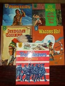 Second Silver - Whitman Badger books lot x5 1961 Pioneer Indian History